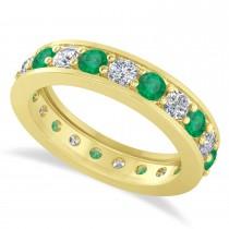 Diamond & Emerald Eternity Wedding Band 14k Yellow Gold (1.89ct)