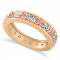 Diamond & Morganite Eternity Wedding Band 14k Rose Gold (1.89ct)