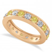 Yellow Diamond Eternity Wedding Band 14k Rose Gold (1.89ct)