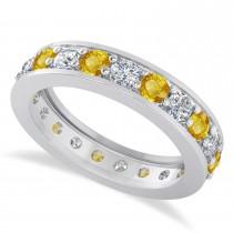 Diamond & Yellow Sapphire Eternity Wedding Band 14k White Gold (1.89ct)