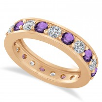 Diamond & Amethyst Eternity Wedding Band 14k Rose Gold (2.10ct)