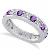 Diamond & Amethyst Eternity Wedding Band 14k White Gold (2.10ct)