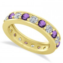 Diamond & Amethyst Eternity Wedding Band 14k Yellow Gold (2.10ct)