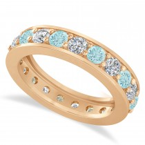 Diamond & Aquamarine Eternity Wedding Band 14k Rose Gold (2.10ct)
