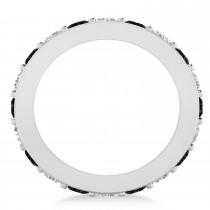 Black & White Diamond Eternity Wedding Band 14k White Gold (2.10ct)
