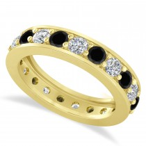 Black & White Diamond Eternity Wedding Band 14k Yellow Gold (2.10ct)