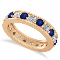 Diamond & Blue Sapphire Eternity Wedding Band 14k Rose Gold (2.10ct)