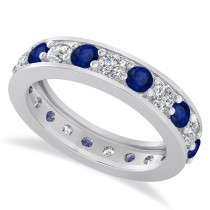 Diamond & Blue Sapphire Eternity Wedding Band 14k White Gold (2.10ct)