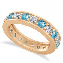 Diamond & Blue Topaz Eternity Wedding Band 14k Rose Gold (2.10ct)