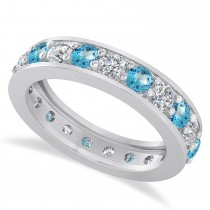 Diamond & Blue Topaz Eternity Wedding Band 14k White Gold (2.10ct)