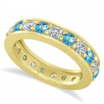 Diamond & Blue Topaz Eternity Wedding Band 14k Yellow Gold (2.10ct)