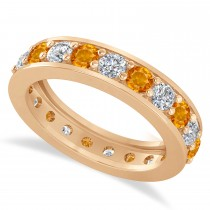 Diamond & Citrine Eternity Wedding Band 14k Rose Gold (2.10ct)