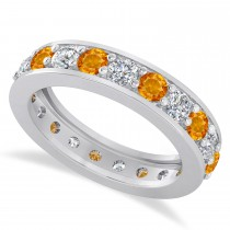 Diamond & Citrine Eternity Wedding Band 14k White Gold (2.10ct)