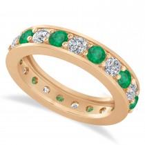 Diamond & Emerald Eternity Wedding Band 14k Rose Gold (2.10ct)