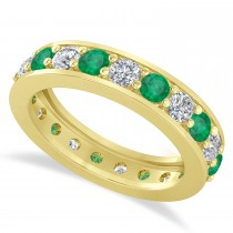 Diamond & Emerald Eternity Wedding Band 14k Yellow Gold (2.10ct)