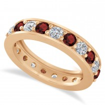 Diamond & Garnet Eternity Wedding Band 14k Rose Gold (2.10ct)