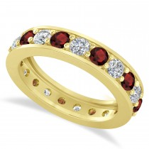 Diamond & Garnet Eternity Wedding Band 14k Yellow Gold (2.10ct)