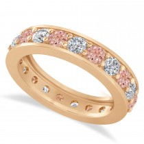 Diamond & Morganite Eternity Wedding Band 14k Rose Gold (2.10ct)