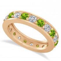Diamond & Peridot Eternity Wedding Band 14k Rose Gold (2.10ct)