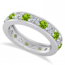 Diamond & Peridot Eternity Wedding Band 14k White Gold (2.10ct)