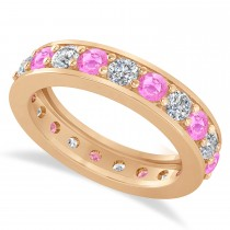 Diamond & Pink Sapphire Eternity Wedding Band 14k Rose Gold (2.10ct)
