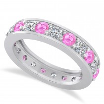 Diamond & Pink Sapphire Eternity Wedding Band 14k White Gold (2.10ct)