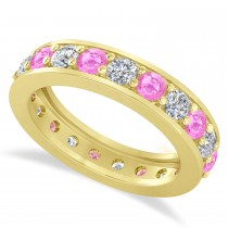 Diamond & Pink Sapphire Eternity Wedding Band 14k Yellow Gold (2.10ct)
