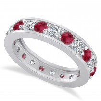 Diamond & Ruby Eternity Wedding Band 14k White Gold (2.10ct)