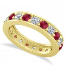 Diamond & Ruby Eternity Wedding Band 14k Yellow Gold (2.10ct)