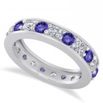 Diamond & Tanzanite Eternity Wedding Band 14k White Gold (2.10ct)