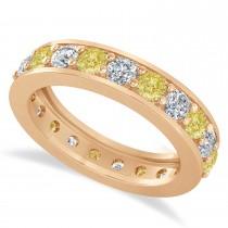 Yellow & White Diamond Eternity Wedding Band 14k Rose Gold (2.10ct)