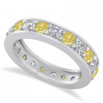 Yellow & White Diamond Eternity Wedding Band 14k White Gold (2.10ct)