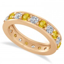 Diamond & Yellow Sapphire Eternity Wedding Band 14k Rose Gold (2.10ct)