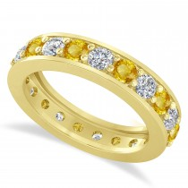 Diamond & Yellow Sapphire Eternity Wedding Band 14k Yellow Gold (2.10ct)