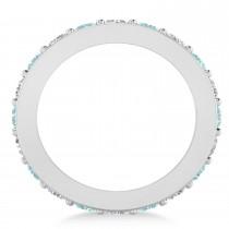 Diamond & Aquamarine Eternity Wedding Band 14k White Gold (2.40ct)