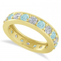 Diamond & Aquamarine Eternity Wedding Band 14k Yellow Gold (2.40ct)