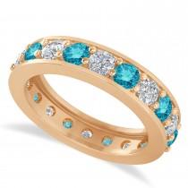 Blue & White Diamond Eternity Wedding Band 14k Rose Gold (2.40ct)