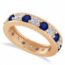 Diamond & Blue Sapphire Eternity Wedding Band 14k Rose Gold (2.40ct)