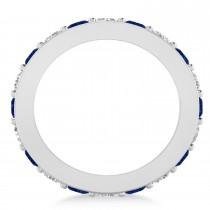 Diamond & Blue Sapphire Eternity Wedding Band 14k White Gold (2.40ct)