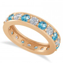 Diamond & Blue Topaz Eternity Wedding Band 14k Rose Gold (2.40ct)