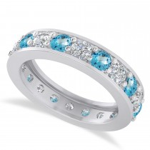 Diamond & Blue Topaz Eternity Wedding Band 14k White Gold (2.40ct)