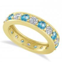 Diamond & Blue Topaz Eternity Wedding Band 14k Yellow Gold (2.40ct)