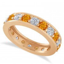 Diamond & Citrine Eternity Wedding Band 14k Rose Gold (2.40ct)