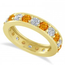 Diamond & Citrine Eternity Wedding Band 14k Yellow Gold (2.40ct)
