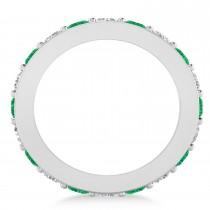 Diamond & Emerald Eternity Wedding Band 14k White Gold (2.40ct)