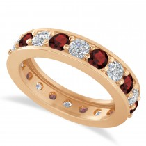 Diamond & Garnet Eternity Wedding Band 14k Rose Gold (2.40ct)