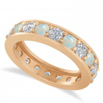 Diamond & Opal Eternity Wedding Band 14k Rose Gold (2.40ct)