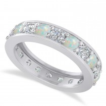 Diamond & Opal Eternity Wedding Band 14k White Gold (2.40ct)