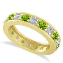 Diamond & Peridot Eternity Wedding Band 14k Yellow Gold (2.40ct)