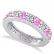 Diamond & Pink Sapphire Eternity Wedding Band 14k White Gold (2.40ct)